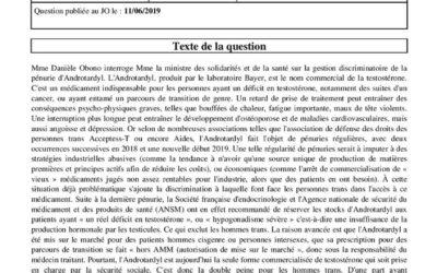 Question écrite – Gestion discriminatoire de la pénurie d'Androtardyl pour les personnes trans.
