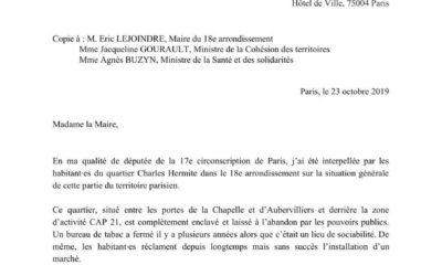 Courrier – Quartier Charles Hermite (Paris 18e) : des réponses rapides doivent être apportées à cette situation d'urgence !