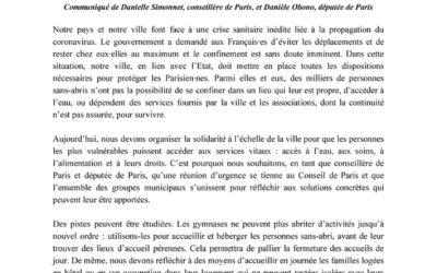 Communiqué – Coronavirus : à Paris, organisons la solidarité !