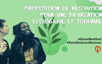 Journée parlementaire – Proposition de résolution : pour une bifurcation écologique et solidaire