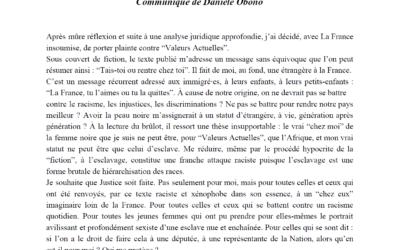 """Communiqué – Racisme de """"Valeurs actuelles"""" : Danièle Obono et LFI portent plainte"""