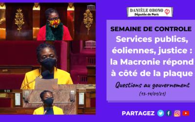 Séance – Semaine de contrôle : services publics, éoliennes, justice